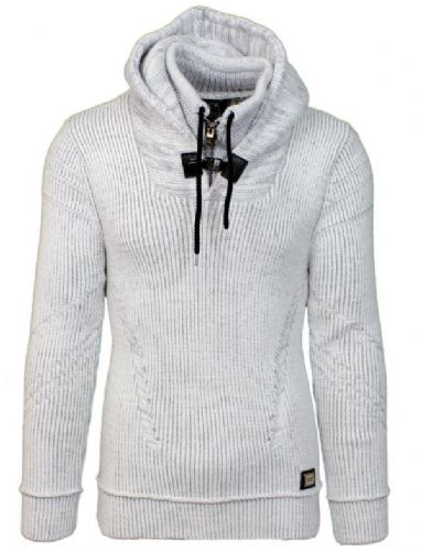 Fargo Designer Cable Hooded Jumper zip and Draw String Black Grey